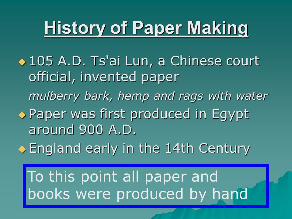 The Modern Paper Making Process 1) Mechanical Pulping 2) Chemimechanical 3) Thermomechanical 4) Chemimechanical and Thermomechanical Pulping (CTMP) 5) Chemical Pulping Five Methods of pulping