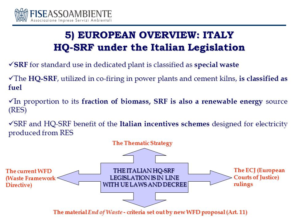 5) EUROPEAN OVERVIEW: ITALY HQ-SRF under the Italian Legislation SRF for standard use in dedicated plant is classified as special waste SRF for standard use in dedicated plant is classified as special waste The HQ-SRF, utilized in co-firing in power plants and cement kilns, is classified as fuel The HQ-SRF, utilized in co-firing in power plants and cement kilns, is classified as fuel In proportion to its fraction of biomass, SRF is also a renewable energy source (RES) In proportion to its fraction of biomass, SRF is also a renewable energy source (RES) SRF and HQ-SRF benefit of the Italian incentives schemes designed for electricity produced from RES SRF and HQ-SRF benefit of the Italian incentives schemes designed for electricity produced from RES The material End of Waste - criteria set out by new WFD proposal (Art.