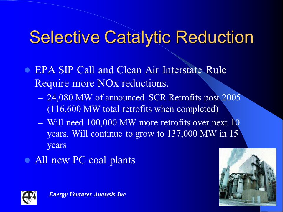 Energy Ventures Analysis Inc Selective Catalytic Reduction EPA SIP Call and Clean Air Interstate Rule Require more NOx reductions.