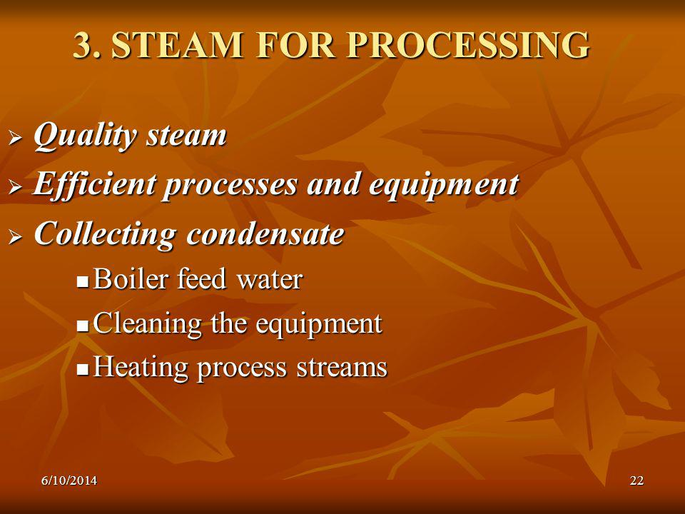6/10/201422 3. STEAM FOR PROCESSING Quality steam Quality steam Efficient processes and equipment Efficient processes and equipment Collecting condens
