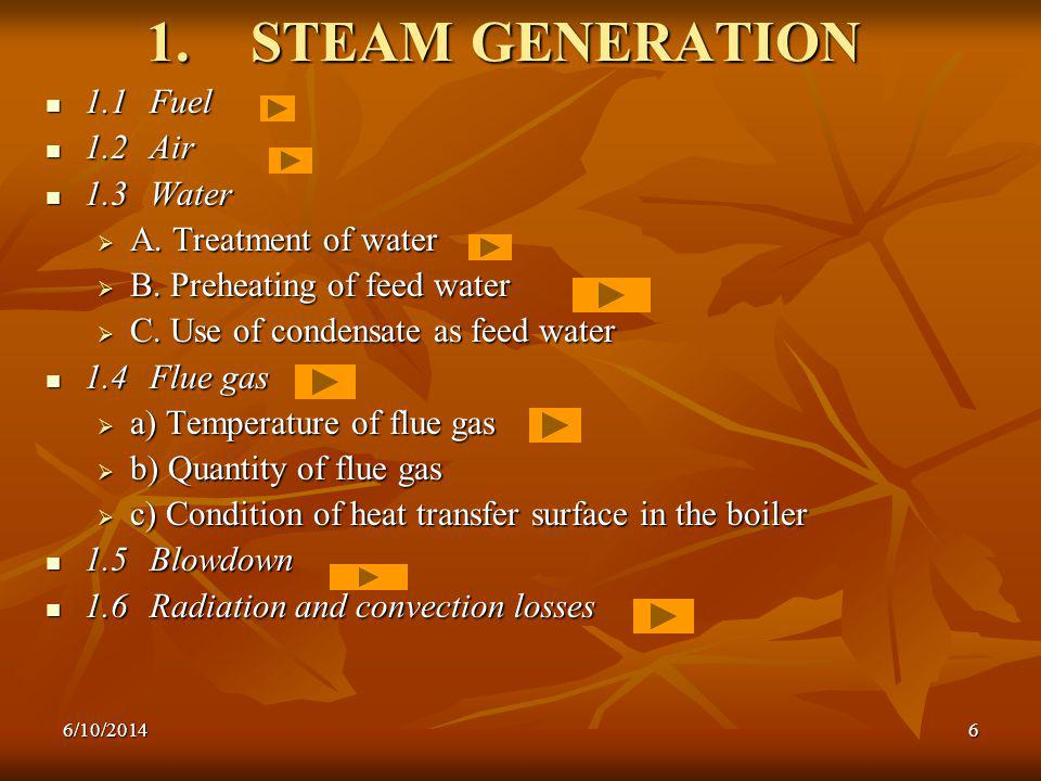 6 1.STEAM GENERATION 1.1 Fuel 1.1 Fuel 1.2 Air 1.2 Air 1.3 Water 1.3 Water A.