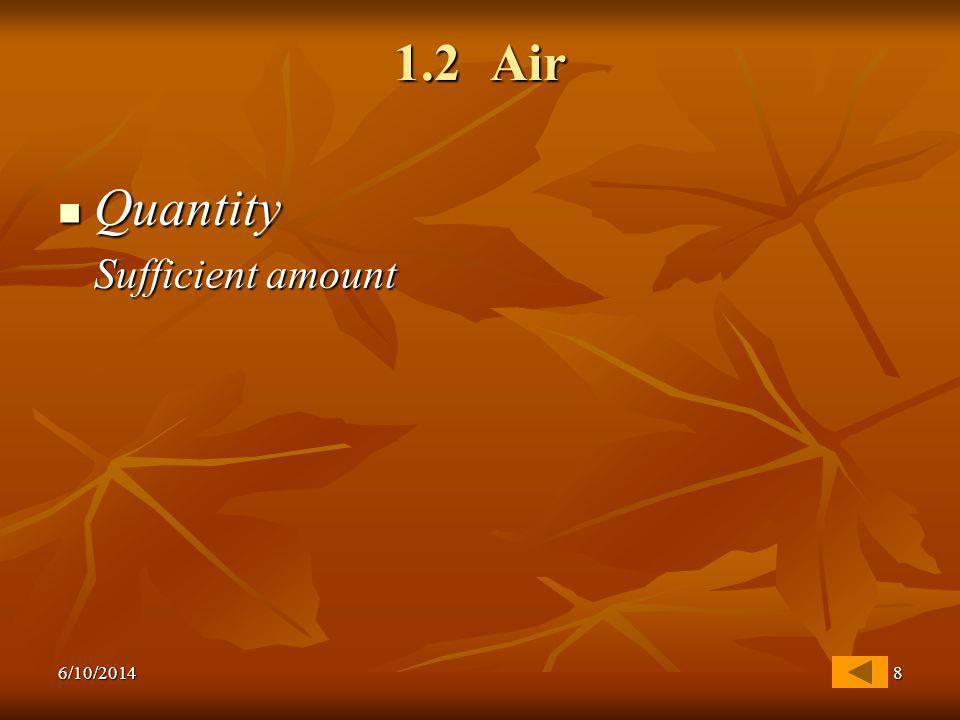 6/10/20148 1.2 Air Quantity Quantity Sufficient amount