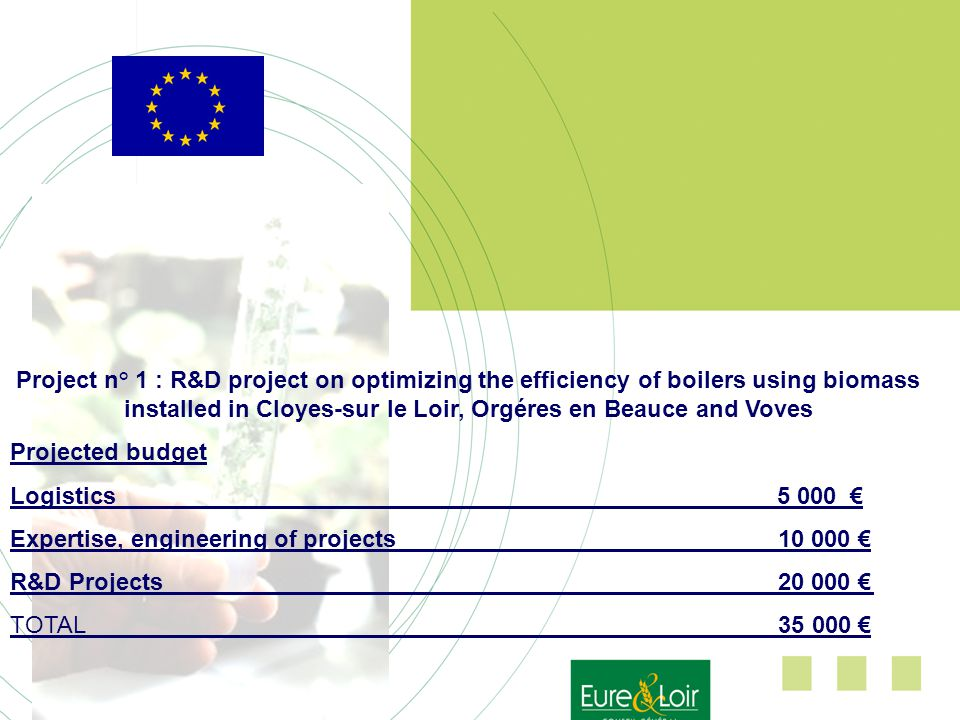 Project n° 1 : R&D project on optimizing the efficiency of boilers using biomass installed in Cloyes-sur le Loir, Orgéres en Beauce and Voves Projected budget Logistics 5 000 Expertise, engineering of projects10 000 R&D Projects20 000 TOTAL 35 000