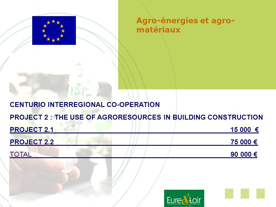 Agro-énergies et agro- matériaux CENTURIO INTERREGIONAL CO-OPERATION PROJECT 2 : THE USE OF AGRORESOURCES IN BUILDING CONSTRUCTION PROJECT 2.1 15 000 PROJECT 2.275 000 TOTAL 90 000