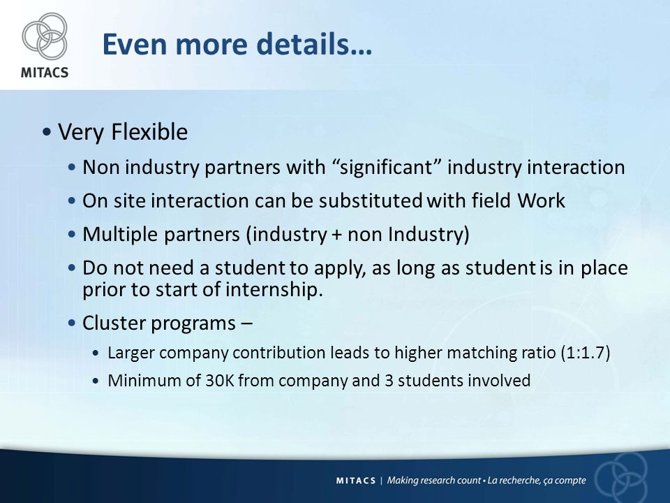 Even more details… Very Flexible Non industry partners with significant industry interaction On site interaction can be substituted with field Work Multiple partners (industry + non Industry) Do not need a student to apply, as long as student is in place prior to start of internship.