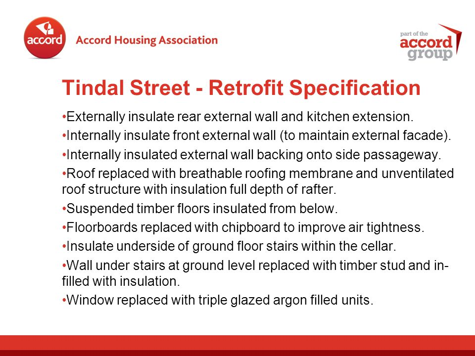 Tindal Street - Retrofit Specification Externally insulate rear external wall and kitchen extension.
