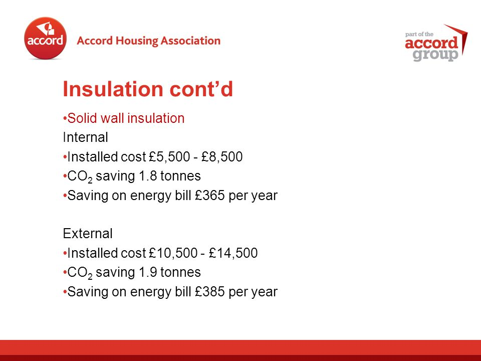 Insulation contd Solid wall insulation Internal Installed cost £5,500 - £8,500 CO 2 saving 1.8 tonnes Saving on energy bill £365 per year External Installed cost £10,500 - £14,500 CO 2 saving 1.9 tonnes Saving on energy bill £385 per year