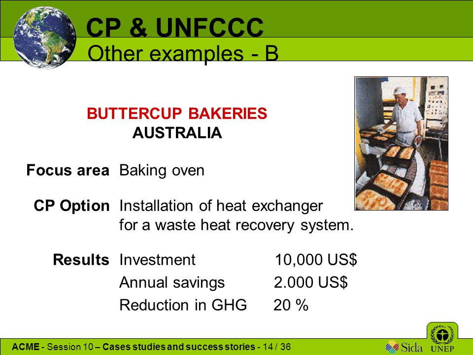 CP & UNFCCC Other examples - B ACME - Session 10 – Cases studies and success stories - 14 / 36 BUTTERCUP BAKERIES AUSTRALIA Focus areaBaking oven CP OptionInstallation of heat exchanger for a waste heat recovery system.