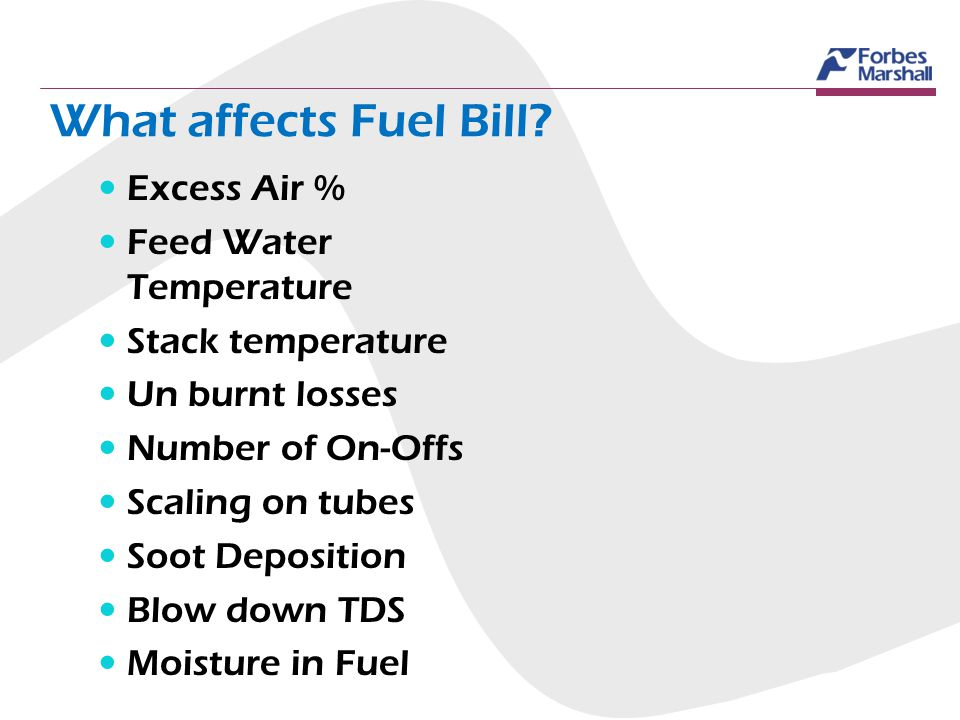 What affects Fuel Bill? Excess Air % Feed Water Temperature Stack temperature Un burnt losses Number of On-Offs Scaling on tubes Soot Deposition Blow