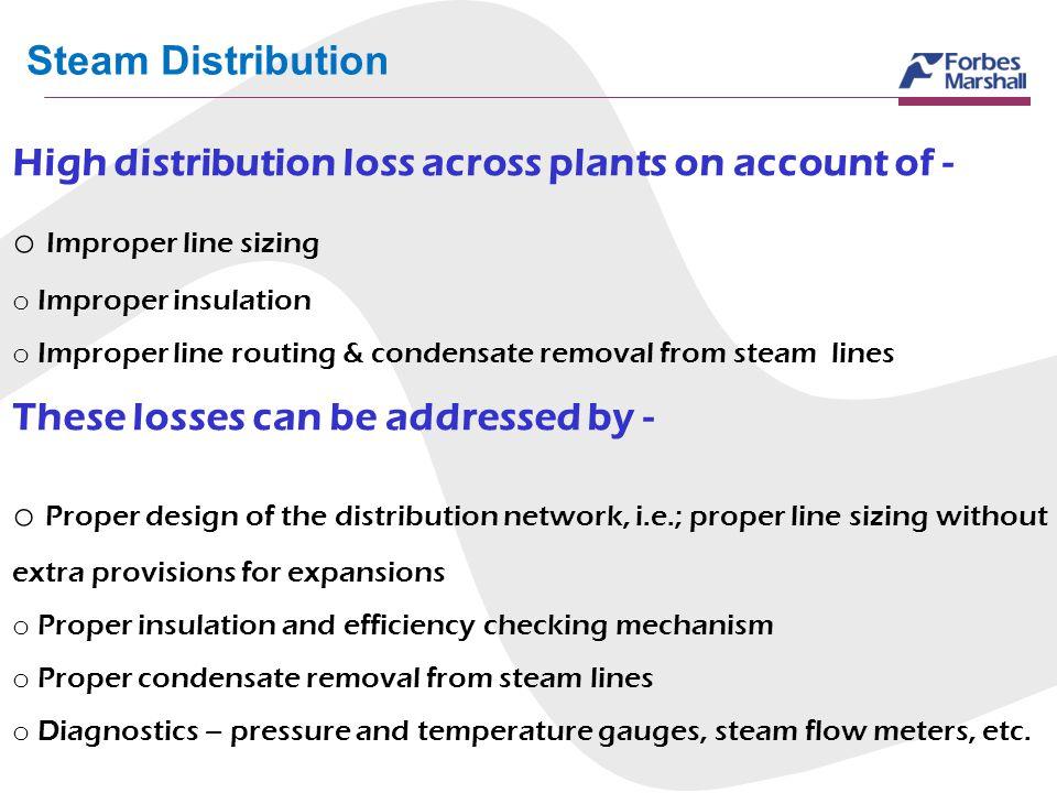 Steam Distribution High distribution loss across plants on account of - o Improper line sizing o Improper insulation o Improper line routing & condens