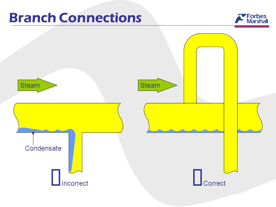 Branch Connections Correct Incorrect Steam Condensate