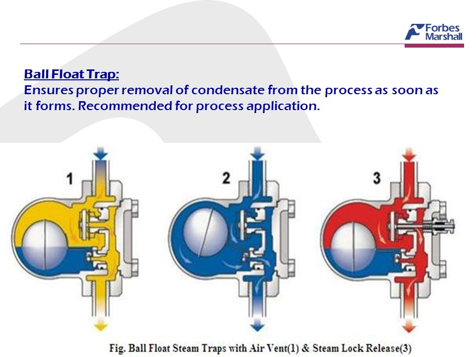 Ball Float Trap: Ensures proper removal of condensate from the process as soon as it forms. Recommended for process application.