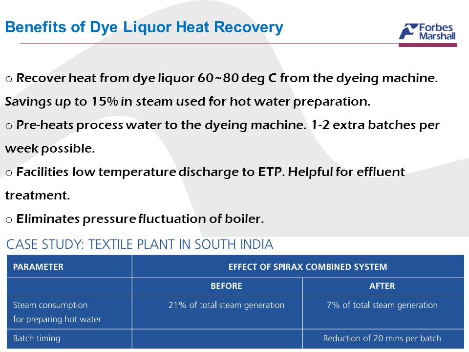 Benefits of Dye Liquor Heat Recovery o Recover heat from dye liquor 60~80 deg C from the dyeing machine. Savings up to 15% in steam used for hot water