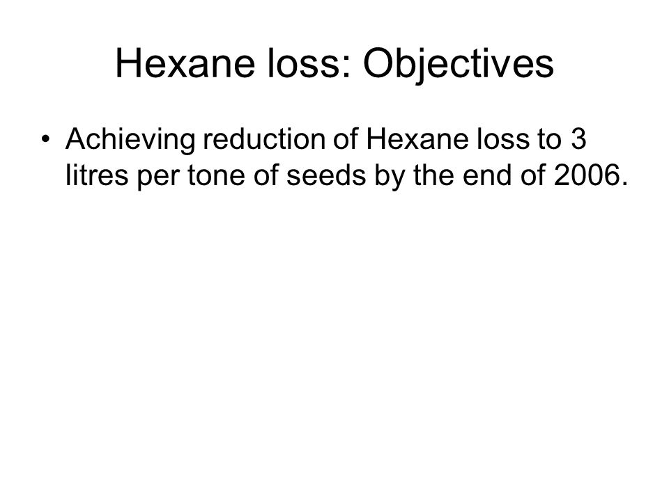 Hexane loss: Objectives Achieving reduction of Hexane loss to 3 litres per tone of seeds by the end of 2006.