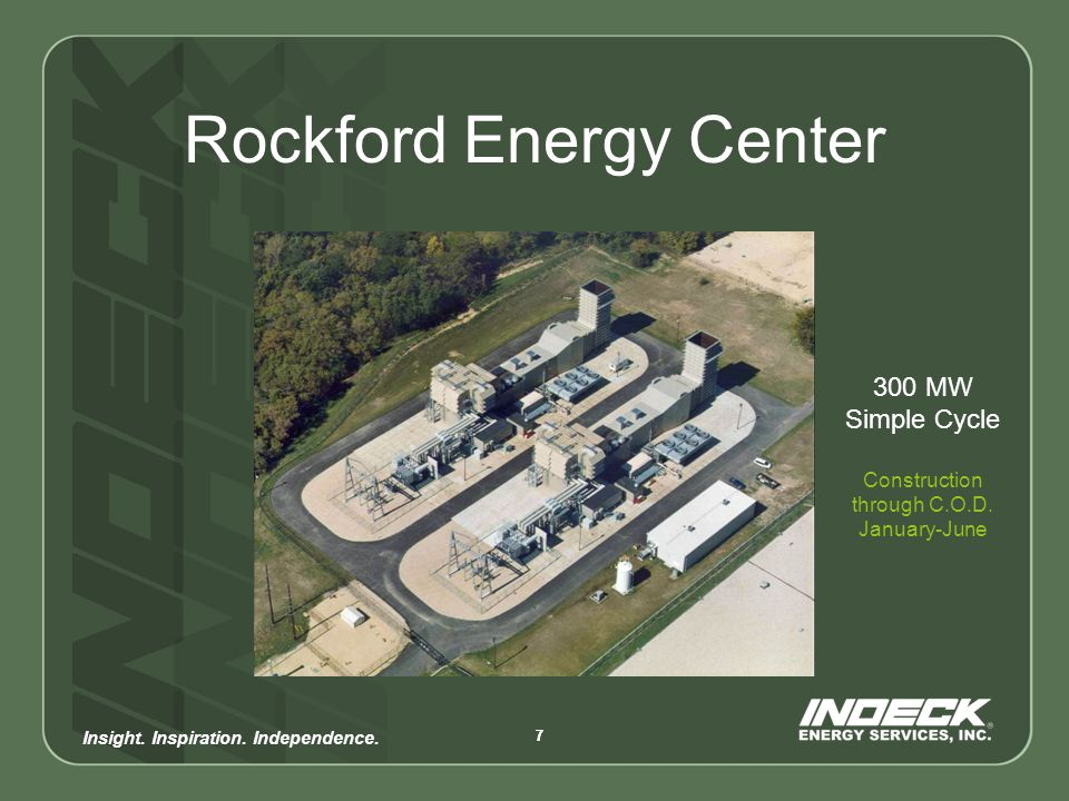 Insight.Inspiration. Independence. 88 Indeck Energy Services, Inc.