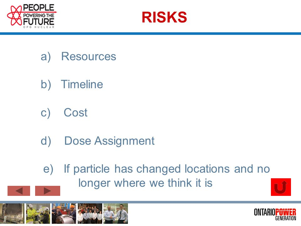 RISKS a) Resources b) Timeline c) Cost d) Dose Assignment e) If particle has changed locations and no longer where we think it is