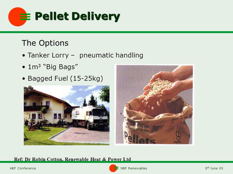 NEF Renewables5 th June 03HEF Conference Pellet Delivery The Options Tanker Lorry – pneumatic handling 1m 3 Big Bags Bagged Fuel (15-25kg) Ref: Dr Robin Cotton, Renewable Heat & Power Ltd