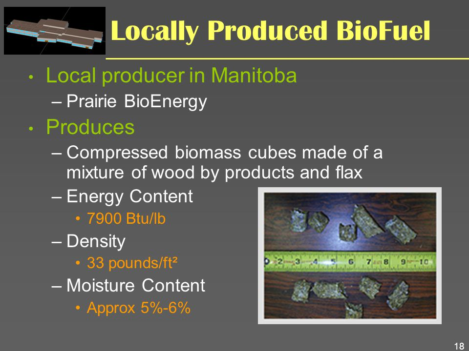 18 Locally Produced BioFuel Local producer in Manitoba –Prairie BioEnergy Produces –Compressed biomass cubes made of a mixture of wood by products and
