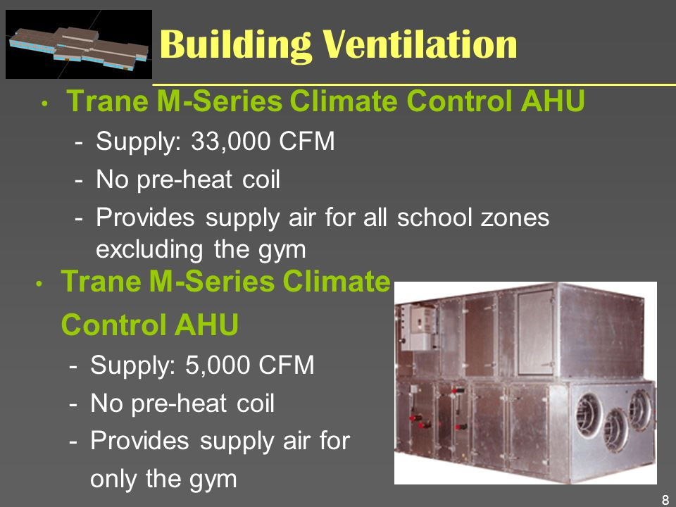 8 Building Ventilation Trane M-Series Climate Control AHU -Supply: 33,000 CFM -No pre-heat coil -Provides supply air for all school zones excluding th