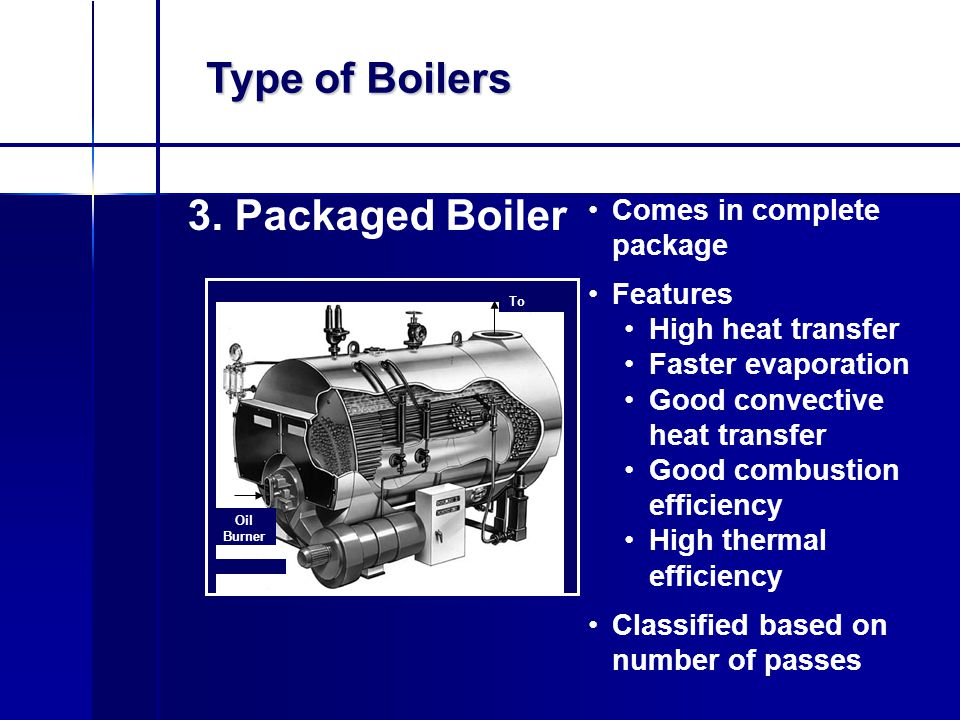 Type of Boilers 3. Packaged Boiler Oil Burner To Chimney Comes in complete package Features High heat transfer Faster evaporation Good convective heat