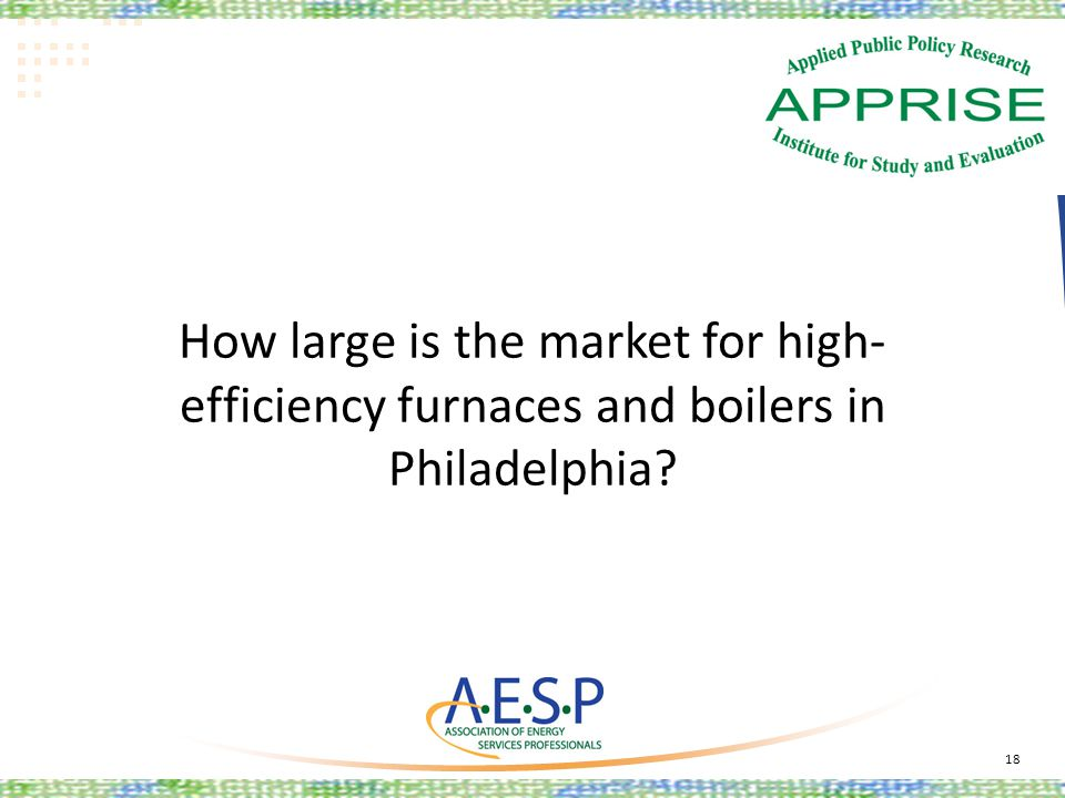How large is the market for high- efficiency furnaces and boilers in Philadelphia? 18