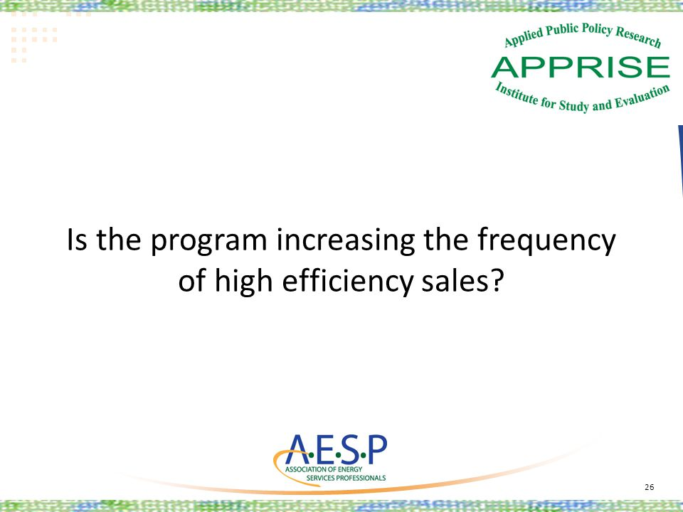 Is the program increasing the frequency of high efficiency sales? 26