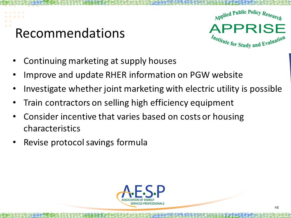 Recommendations Continuing marketing at supply houses Improve and update RHER information on PGW website Investigate whether joint marketing with elec