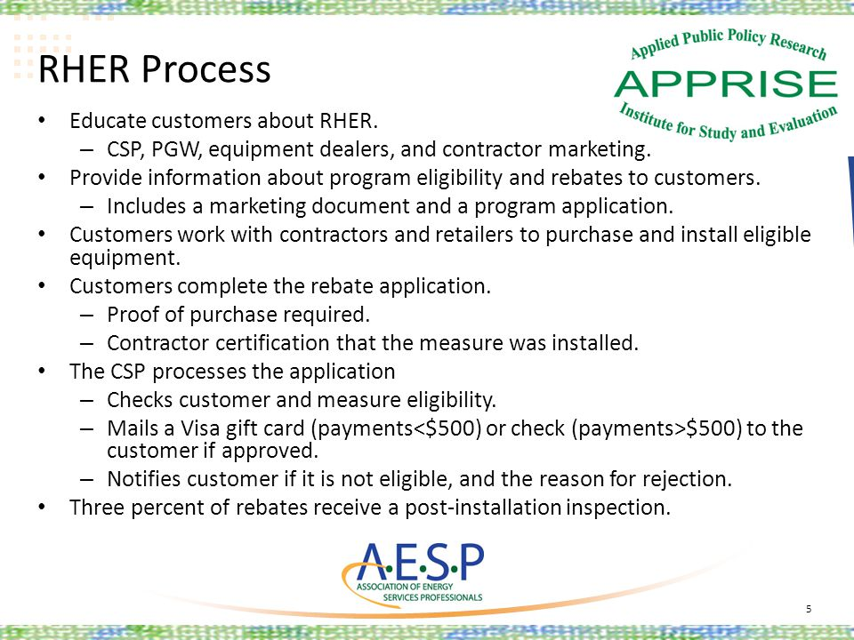 RHER Process Educate customers about RHER. – CSP, PGW, equipment dealers, and contractor marketing. Provide information about program eligibility and