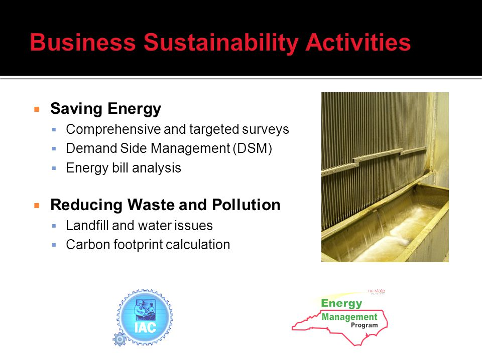 Saving Energy Comprehensive and targeted surveys Demand Side Management (DSM) Energy bill analysis Reducing Waste and Pollution Landfill and water issues Carbon footprint calculation