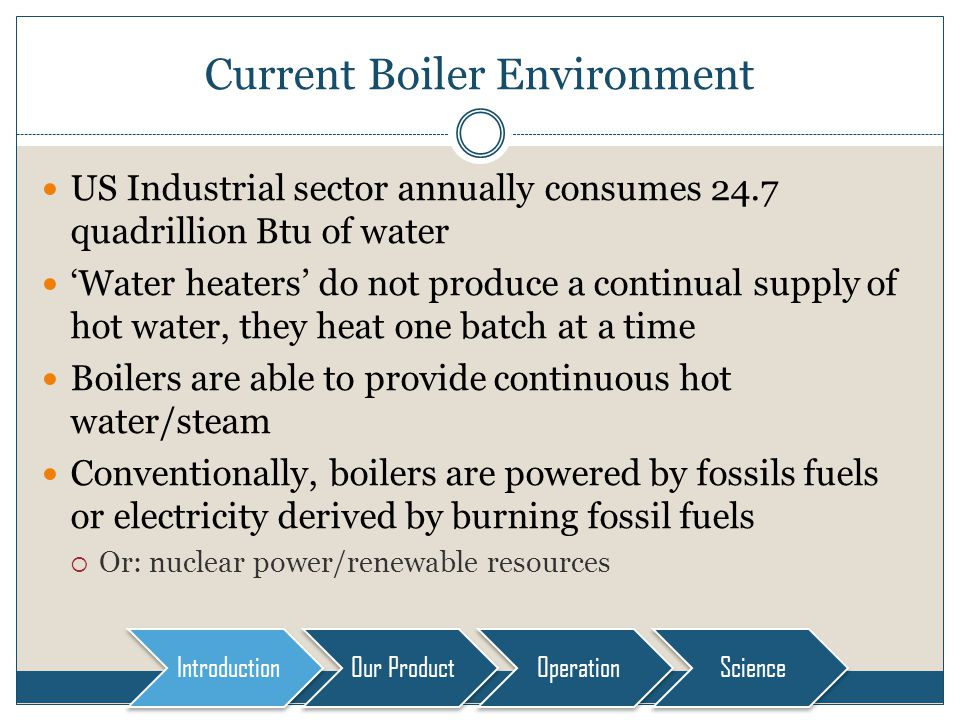 Current Boiler Environment US Industrial sector annually consumes 24.7 quadrillion Btu of water Water heaters do not produce a continual supply of hot water, they heat one batch at a time Boilers are able to provide continuous hot water/steam Conventionally, boilers are powered by fossils fuels or electricity derived by burning fossil fuels Or: nuclear power/renewable resources Introduction Our Product OperationScience
