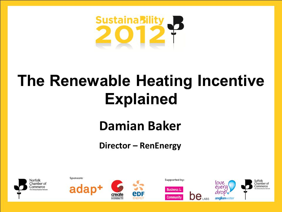 Looking forward …to a greener future Damian Baker Director – RenEnergy The Renewable Heating Incentive Explained