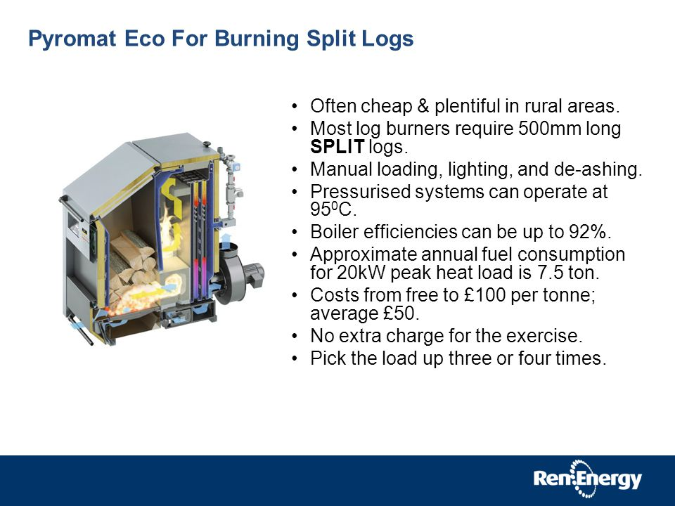 Pyromat Eco For Burning Split Logs Often cheap & plentiful in rural areas.