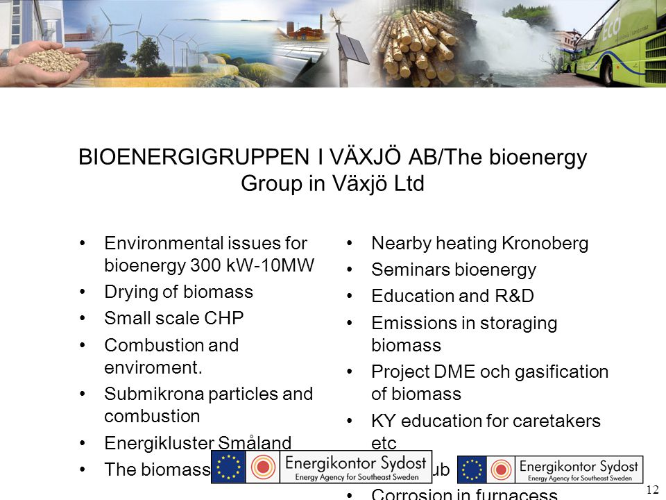 12 BIOENERGIGRUPPEN I VÄXJÖ AB/The bioenergy Group in Växjö Ltd Environmental issues for bioenergy 300 kW-10MW Drying of biomass Small scale CHP Combu