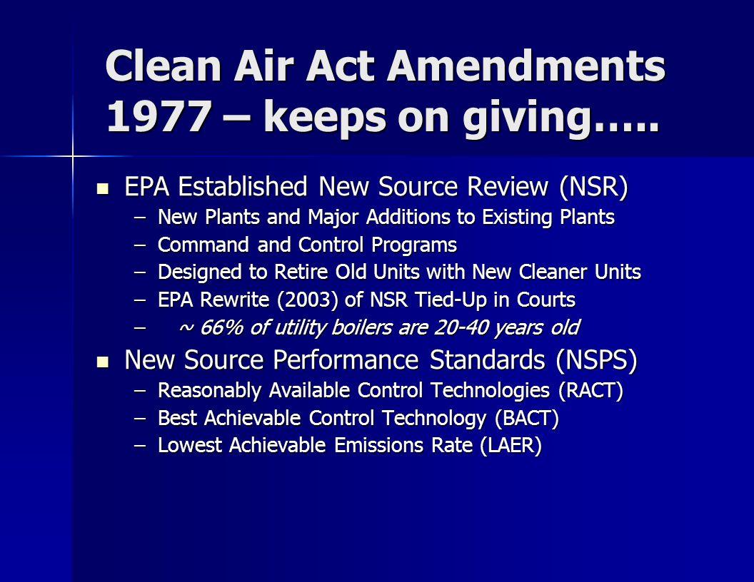 U.S.Legislative/Regulatory Drivers U.S. EPA Regulations Being Implemented U.S.