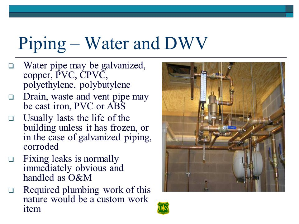 Piping – Water and DWV Water pipe may be galvanized, copper, PVC, CPVC, polyethylene, polybutylene Drain, waste and vent pipe may be cast iron, PVC or