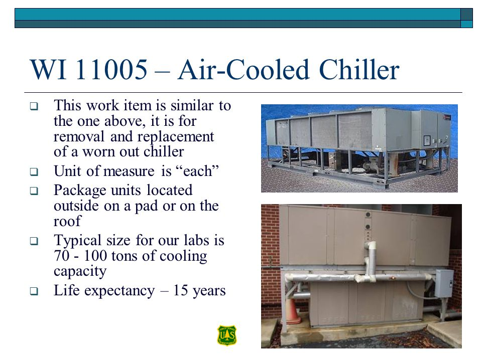 WI 11005 – Air-Cooled Chiller This work item is similar to the one above, it is for removal and replacement of a worn out chiller Unit of measure is e