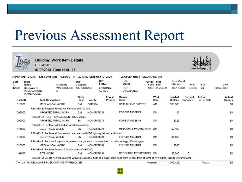 Previous Assessment Report