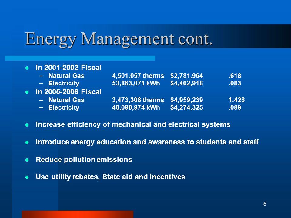 6 Energy Management cont.