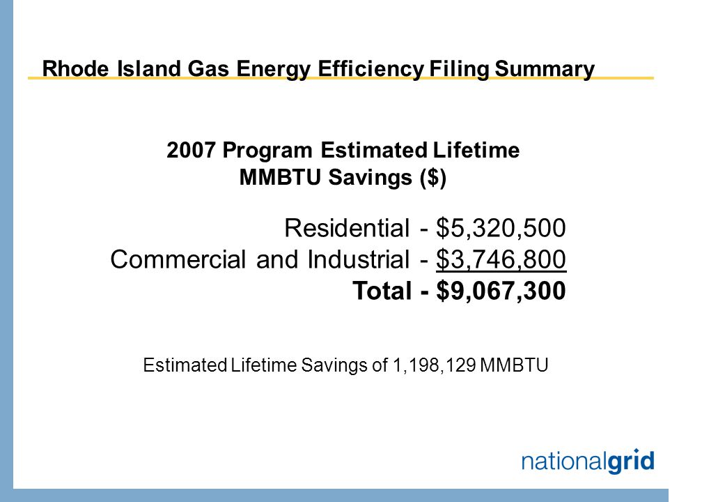 Rhode Island Gas Energy Efficiency Filing Summary 2007 Program Estimated Lifetime MMBTU Savings ($) Residential - $5,320,500 Commercial and Industrial - $3,746,800 Total - $9,067,300 Estimated Lifetime Savings of 1,198,129 MMBTU