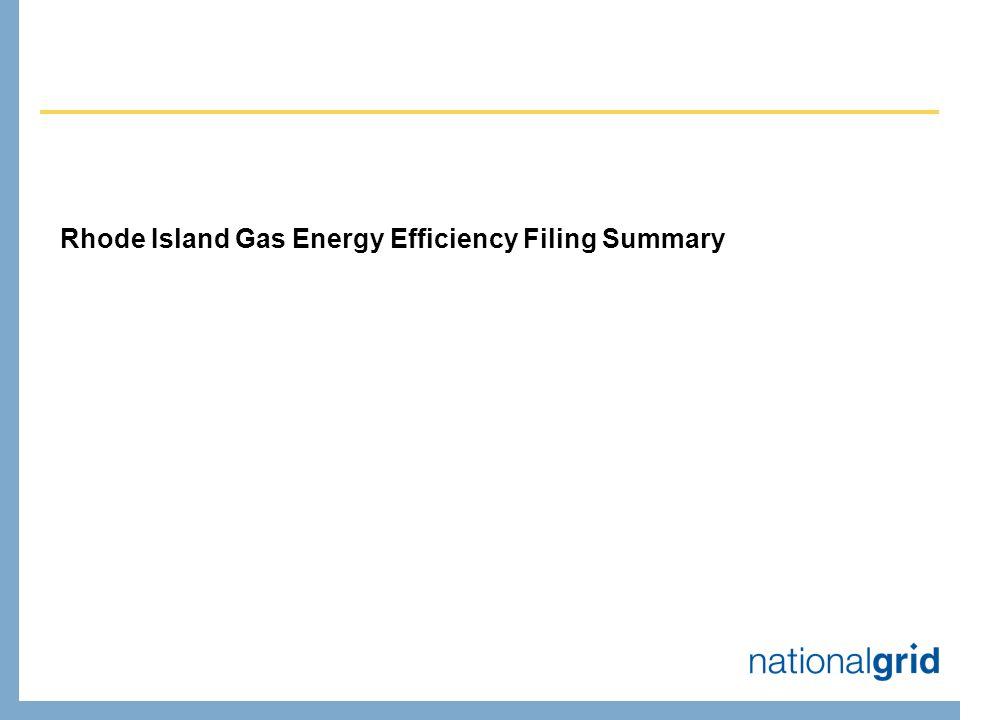 Rhode Island Gas Energy Efficiency Filing Summary