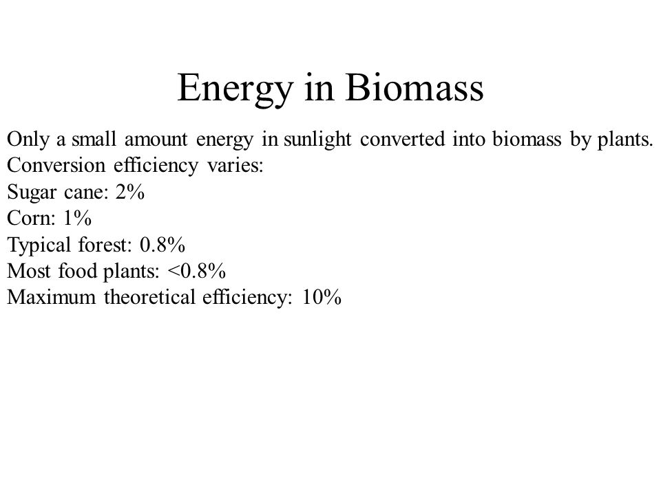 Energy in Biomass Only a small amount energy in sunlight converted into biomass by plants.