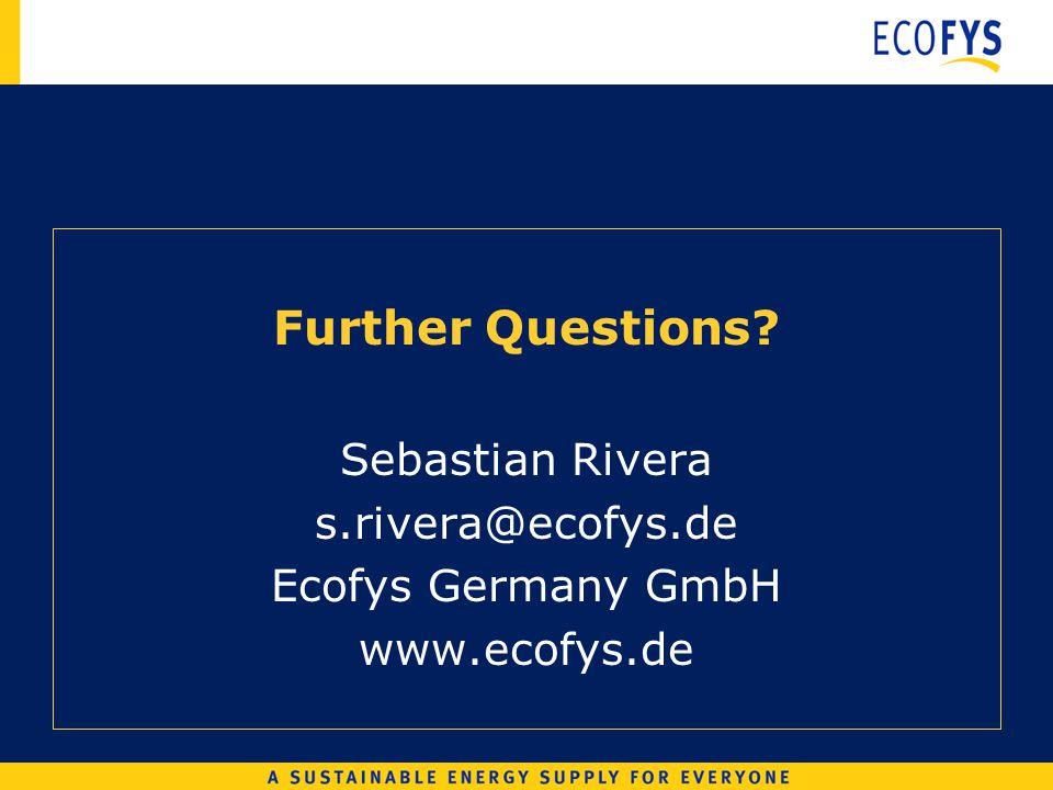 Further Questions Sebastian Rivera s.rivera@ecofys.de Ecofys Germany GmbH www.ecofys.de