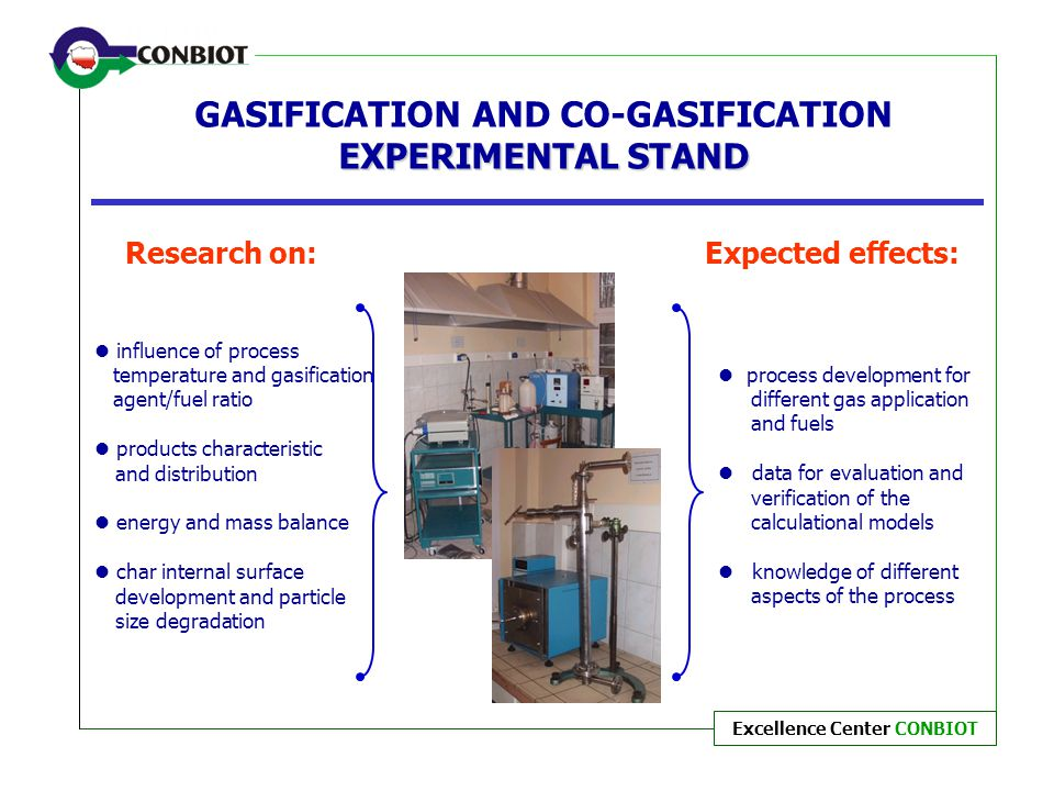 Excellence Center CONBIOT EXPERIMENTAL STAND GASIFICATION AND CO-GASIFICATION EXPERIMENTAL STAND process development for different gas application and