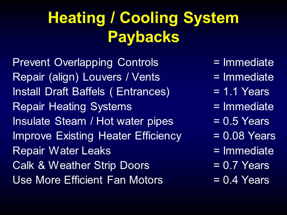 Heating / Cooling System Paybacks Prevent Overlapping Controls= Immediate Repair (align) Louvers / Vents= Immediate Install Draft Baffels ( Entrances) = 1.1 Years Repair Heating Systems= Immediate Insulate Steam / Hot water pipes= 0.5 Years Improve Existing Heater Efficiency= 0.08 Years Repair Water Leaks= Immediate Calk & Weather Strip Doors= 0.7 Years Use More Efficient Fan Motors= 0.4 Years