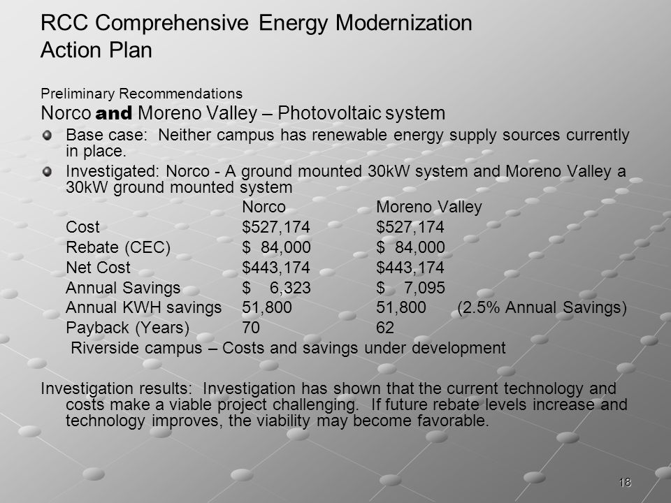 18 RCC Comprehensive Energy Modernization Action Plan Preliminary Recommendations Norco and Moreno Valley – Photovoltaic system Base case: Neither campus has renewable energy supply sources currently in place.
