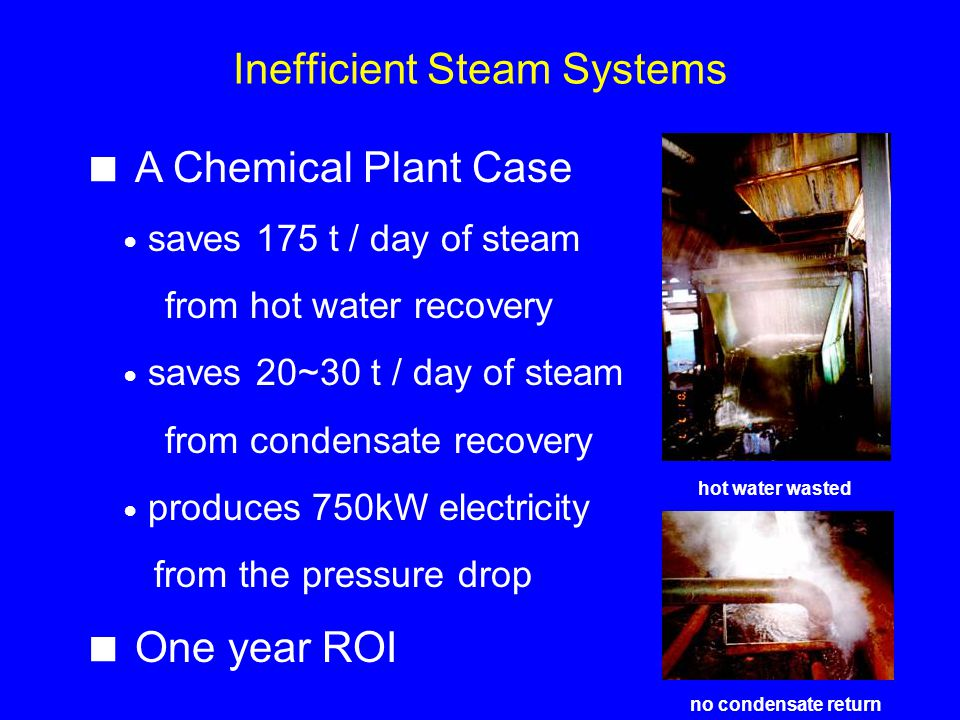 Inefficient Steam Systems no condensate return hot water wasted A Chemical Plant Case saves 175 t / day of steam from hot water recovery saves 20~30 t / day of steam from condensate recovery produces 750kW electricity from the pressure drop One year ROI