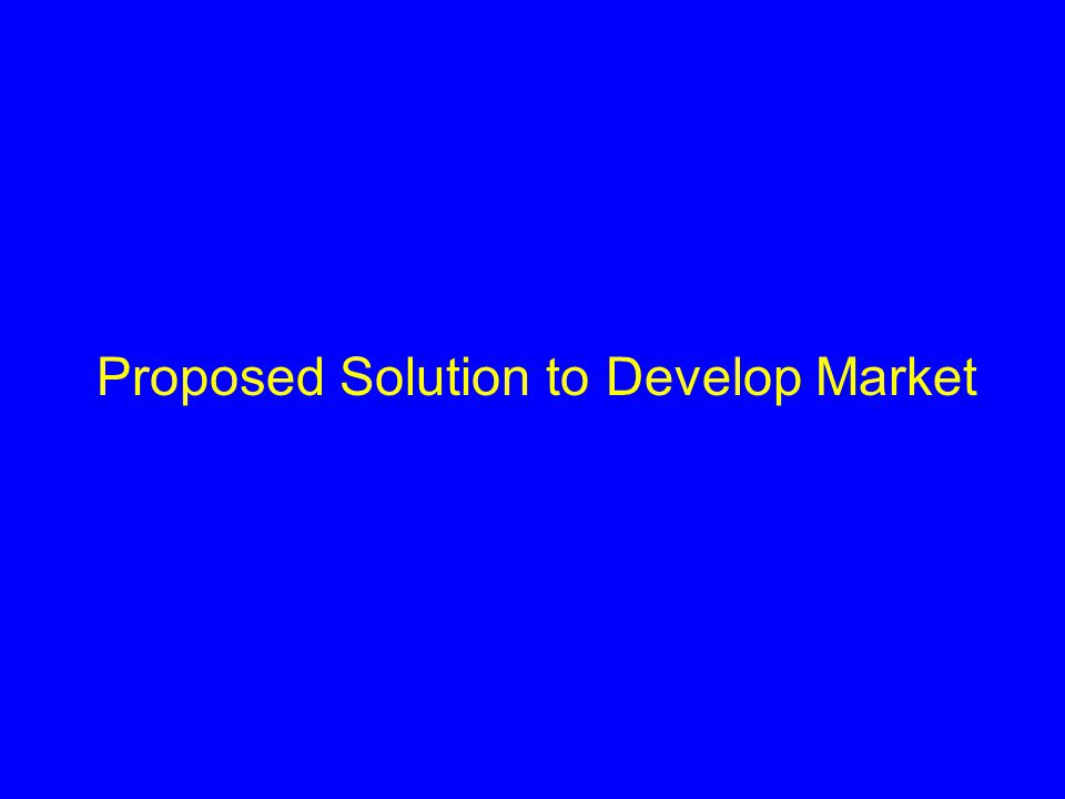 Proposed Solution to Develop Market
