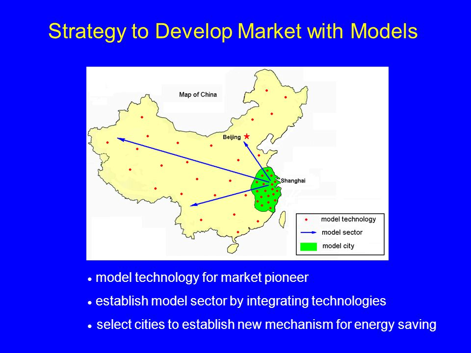 model technology for market pioneer establish model sector by integrating technologies select cities to establish new mechanism for energy saving Strategy to Develop Market with Models