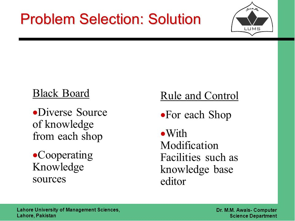 Lahore University of Management Sciences, Lahore, Pakistan Dr. M.M. Awais- Computer Science Department Problem Selection: Solution Black Board Diverse