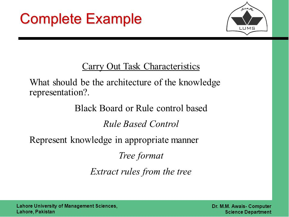 Lahore University of Management Sciences, Lahore, Pakistan Dr. M.M. Awais- Computer Science Department Complete Example Carry Out Task Characteristics